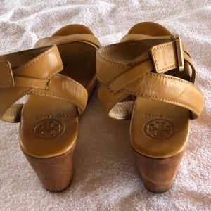 Tory Burch mid wedge sandal with ankle strap